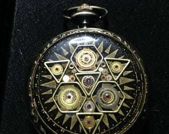 "Moon Glory Gears Mechanical Pocket Watch, Sacred ""G"" Design in Bronze"