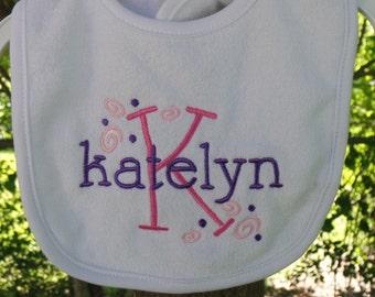 Monogrammed girl baby bib,  personalized baby bib, baby shower gift, girl baby gift, personalized girl bib,