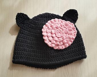 Little black cat  hat with flower