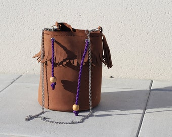 """Bucket Bag """"Saxo"""", brown - milk choclate - nubuck leather and liberty, chain shoulder strap"""