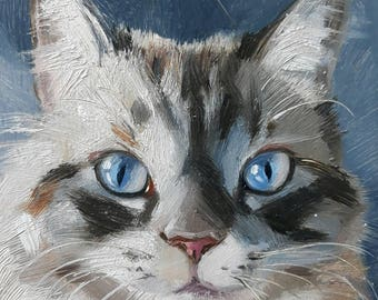 Blue eyes cat oil painting original art on wood custom cat pet portrait illustration to order Birthday lover gift lady Wall art