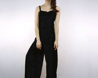 Vintage Black Jumpsuit Womens Halloween Costume One Piece Button Up Wide Leg Criss Cross Back 80s Jumpsuit - Extra Small to Small XS S