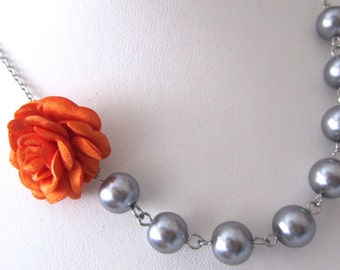 Wedding jewelry, wedding jewelry for brides, grey pearl necklace, pearl bridal, jewelry for bridemaids, orange fabric, orange flowers