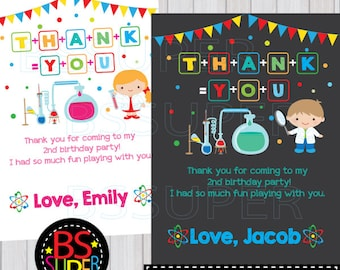 Science Birthday Party Thank You Card, Mad Scientist Thank You Card, Science Party thank you tag