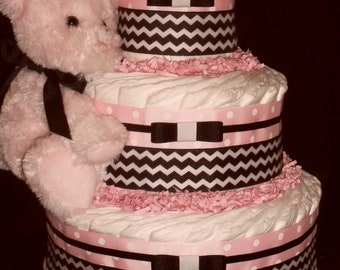 Pink & Brown Diapercake with Pink Shining Star Teddy Bear