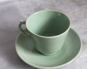 Woods Ware Demi Tasse Small Cup and Saucer in Beryl Green. Utility Ware 1940s. Post War Collectable.