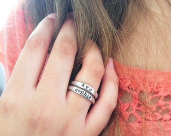 Custom Organic Stacking Rings - Mother's Day Gift for Her - Personalized Name Rings - Personalized Stackable Mom Rings