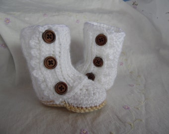 Baby Wrap Boots, Handmade Baby Boots, Infant Baby Girl Boots, Baby Gift, Crochet Baby Girl Boots,  Made To Order Baby Boot, White Baby Boots