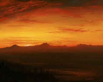 Original Oil Painting, Landscape, Pacific Northwest Twilight, 8 x 10