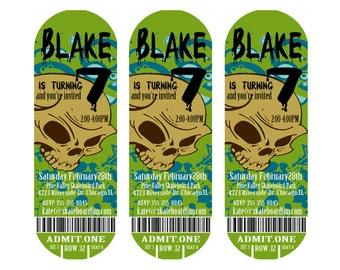 Skateboard Party Invitation Skateboard Ticket Personalized Party Invite Printable Skateboarding Ticket