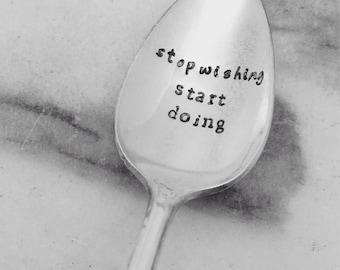 Handstamped vintage spoon, inspiration, motivation