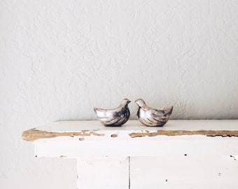Vintage Bird Egg Cups // Silver Figurine Pair