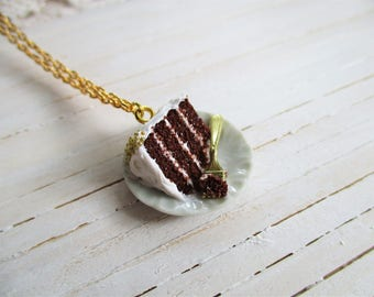 Cake Slice Necklace, Cute Miniature Polymer Clay Food, Handmade Jewelry, Accessories
