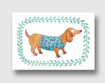 map postal dog dressed leaves flowers, reproduction of my Watercolour