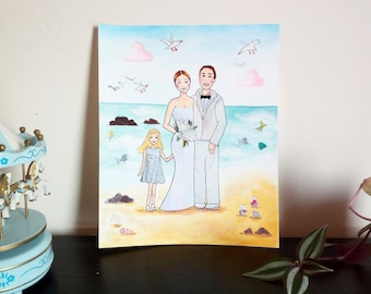 Beach Wedding Portrait - Honeymoon and Wedding custom Illustration - Mixed Media Illustration