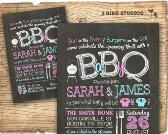 Gender reveal invitation- Chalkboard gender reveal party invitation - BBQ gender reveal invitation - BaByQ gender reveal - Bun in the oven