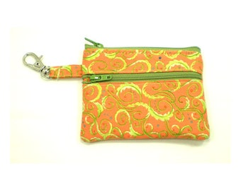 Small Zippered Wallet Change Purse Gadget Case  Orange with Lime Green Swirls 5247 5248