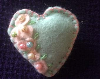 Aqua and pastel pink felt heart brooch
