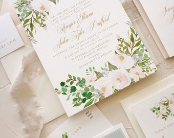 Blush Floral Wedding Invitation Set, Watercolor Wedding Invite Suite, SAMPLE SET