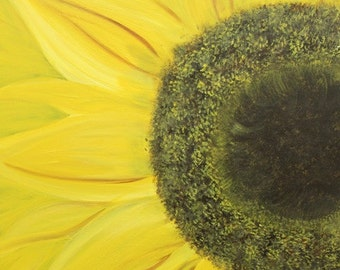 Original Blooming sunflower canvas painting. Sunflower painting, yellow sunflower, sunflower art, wall art