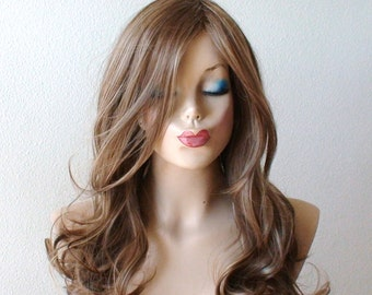 Lace Front wig. Brown / Dirty blonde/ Ash blonde mixed color wig. Long curly dirty blonde wig, Durable Heat resistant synthetic wig