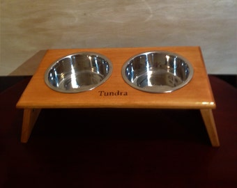 Dog Dish Holder, Personalized FREE, dog feeding station available in 3 beautiful stain colors finished with polyurethane, raised dog feeder