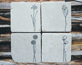 Flower Stone Coasters, Spring Flowers Coasters, Easter Coasters, Mother's Day Coasters, Garden Flower Coasters, Spring Mix Flowers Gift