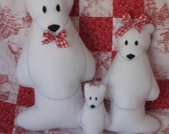 Digital Download  Polar Bear Softies In The Hoop Embroidery Machine Designs for the 4x4, 5x7 and 6x10 hoop