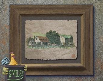 Nostalgic cute amish house barn art Whimsical yesteryear print adds Americana print amish life wall decor as 8x10 or 13x19 farm print