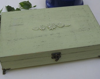 Tea box soft green Shabby Chic Home Decor / Tea bag box, wooden tea box, tea cabinet