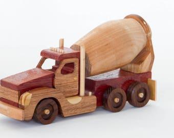 Handmade wooden cement truck
