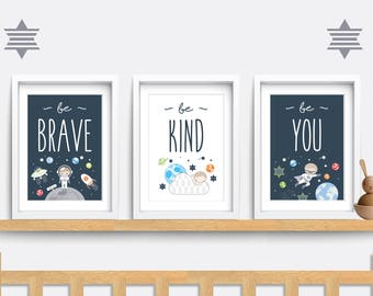 Set of 3 Nursery prints, Space nursery decor, Nursery wall art, Space themed nursery, Baby boy gift, Be brave be kind be you, Moon print