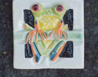 Red Eyed Tree Frog , Hand Made Tile