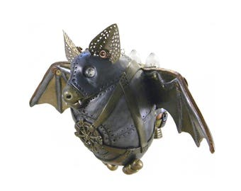 Steampunk Bat Ornament/Halloween Steampunk Bat with Jet Pack