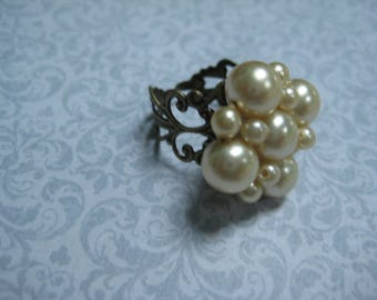 Upcycled Ring, Vintage Ring, Statement Ring, Upcycled Recycled, Repurposed Jewelry, Vintage Earring Ring,Cream Pearls,OOAK One of a Kind/R51