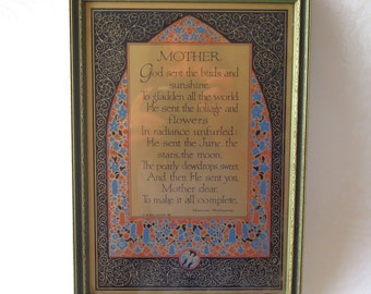 Mother Motto Poem Print Original Frame Art Nouveau Gilded Buzza Maurine Hathaway Vintage Mother's Day Gift for Mom