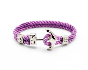Anchor Bracelet Silver with Purple Marine Rope (free shipping)