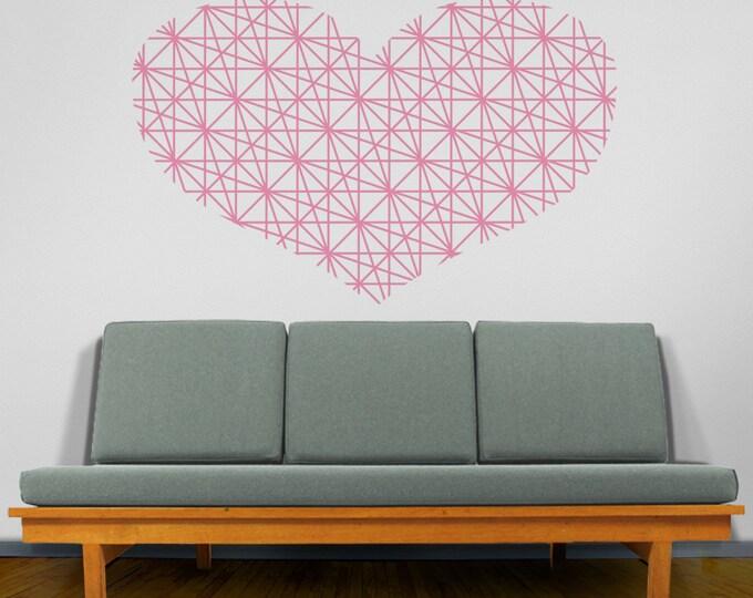 heart wall decal, geometric heart wall decor, love wall sticker, modern style heart decor, modern home love decor, unique home
