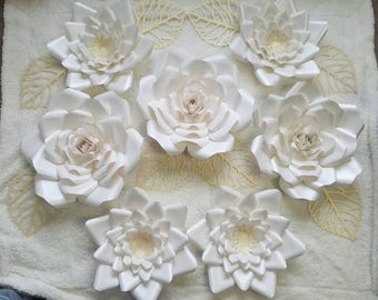 Ivory paper flowers set