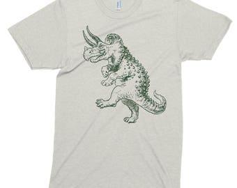 Dancing Dinosaur T Shirt, Printed On American Apparel, Tri-Blend, Triceratops Tshirt, Funny Tee, Mens Womens