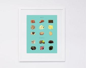 Vintage Rocks and Minerals Poster Scientific chart - Art Print