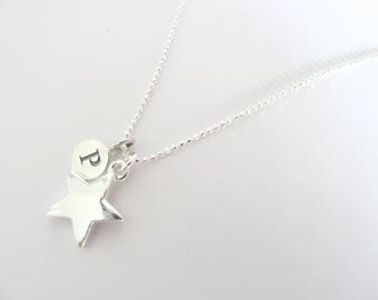 Personalised sterling silver initial letter necklace with silver star.  Engraved charm necklace.