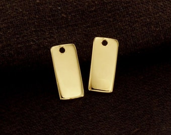 2 of 925 Sterling Silver 24k Vermeil Style Rectangle Blank Charms 6x12.5mm. , Polish Finished  :vm0760