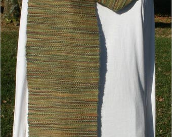 Handwoven Alpaca and Wool Scarf in Greens and Brown