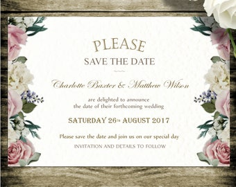 10 Wedding save the date cards with envelopes,  Vintage Tea Party design, Personalised. D19