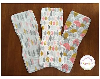 Handmade burp cloth set - pink grey leaves - organic cotton