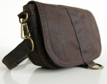 Waxed Canvas Hip Bag, Waxed Canvas Pouch, Waxed Canvas Bag, Vegan Clutch Bag - The Brown Saddle Pouch