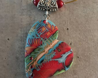 necklace with heart polymer clay endant - new collection