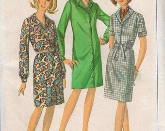 FREE US SHIP Simplicity 6700 Vintage Retro 1960s 60s Sewing Pattern Shirtdress Dress Bust 43 Size 22 1/2  plus size Unused ff