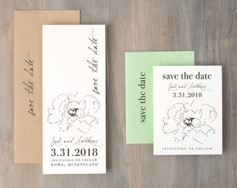 "Simple Floral Save the Date, Wedding Save the Dates, Mint, Taupe, Unique Save the Date Cards, Personalize - ""Simple Green"" Save the Dates"